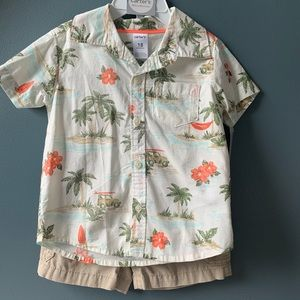 NWT Baby Boy Carter's Button down and Sorts Set